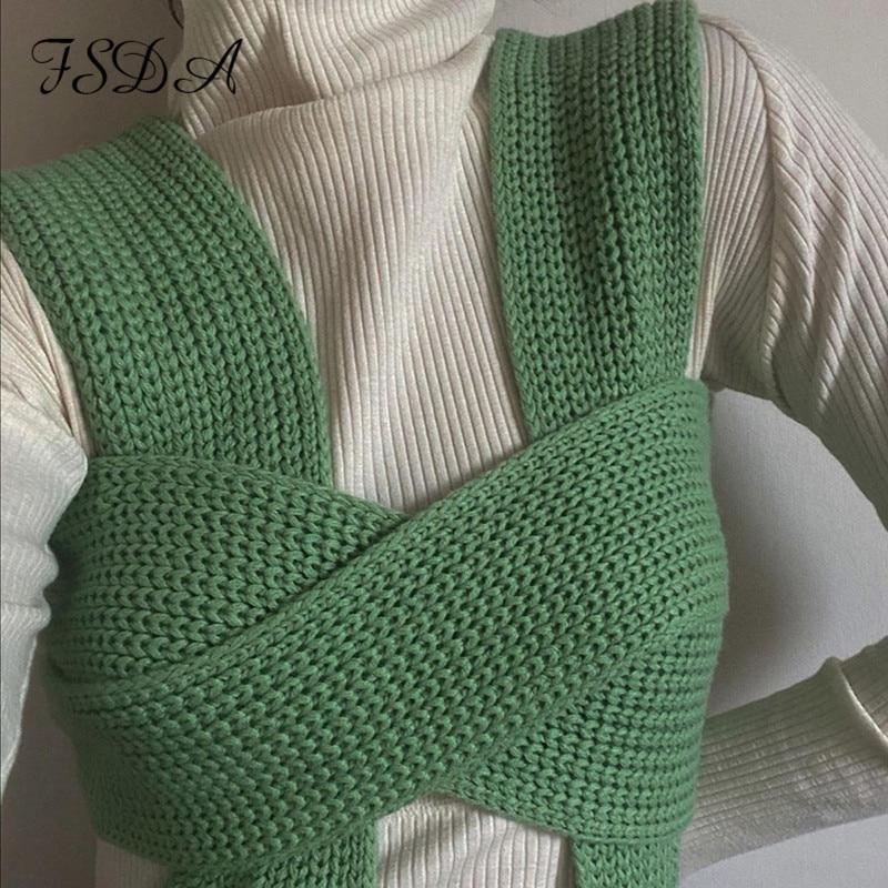 Sleeveless Knitted Sweater Vest Black Casual White Jumper 2