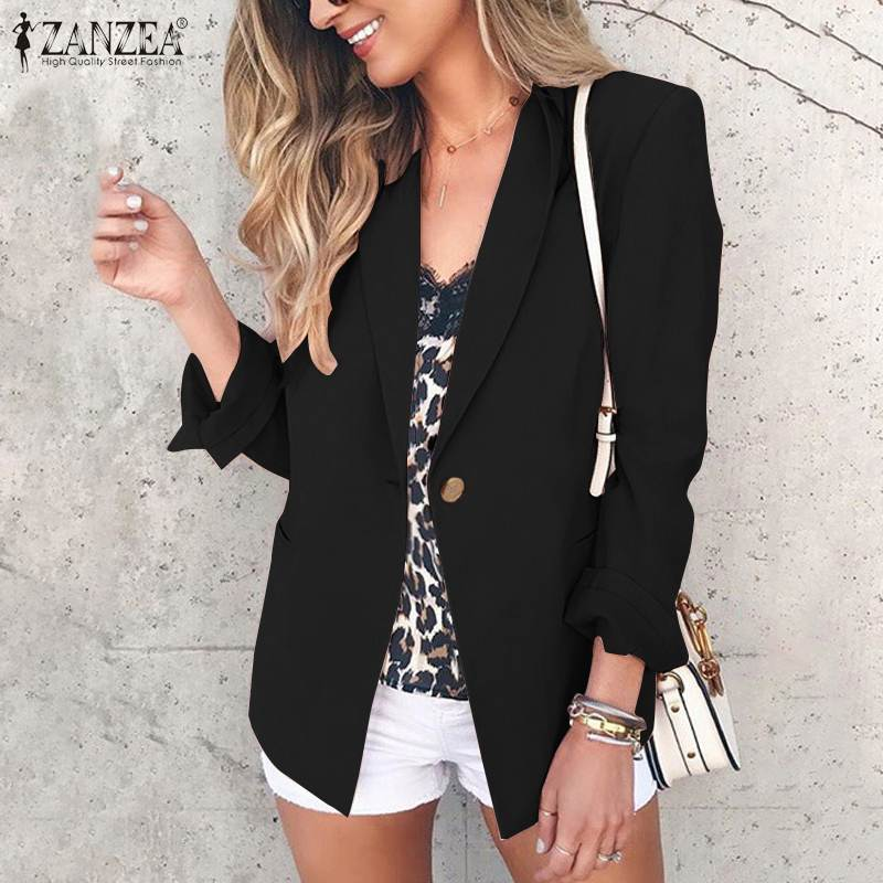 ZANZEA Women's Long Sleeve Blazers 2019 Autumn Ladies Casual Long Sleeve Outwear Office Work Chic Chaqueta Mujer Plus Size Coats