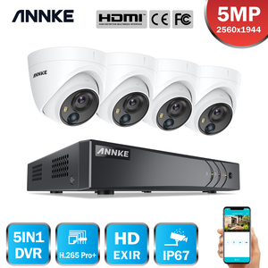 ANNKE 8CH 5MP Lite Video Security System 5IN1 H.265+ DVR With 4PCS 5MP PIR HD EXIR Dome Waterproof Surveillance Cameras CCTV Kit(China)