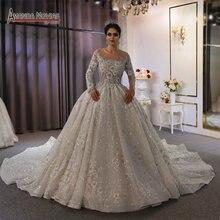 فستان زفاف فاخر أوف وايت دبي فساتين زفاف ثقيلة مطرز بالخرز 2020