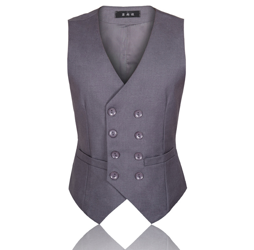 Mens British Dress Vests Men Slim Fit Wedding Suit Vest Male Business Formal Sleeve Jacket Double Breasted Waistcoat 4XL 5XL 6XL