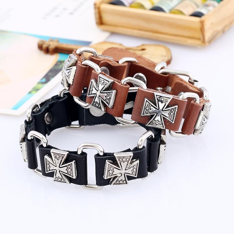 New Classic Bracelet Cross Punk Leather Bracelets Bangles European Punk Bracelet
