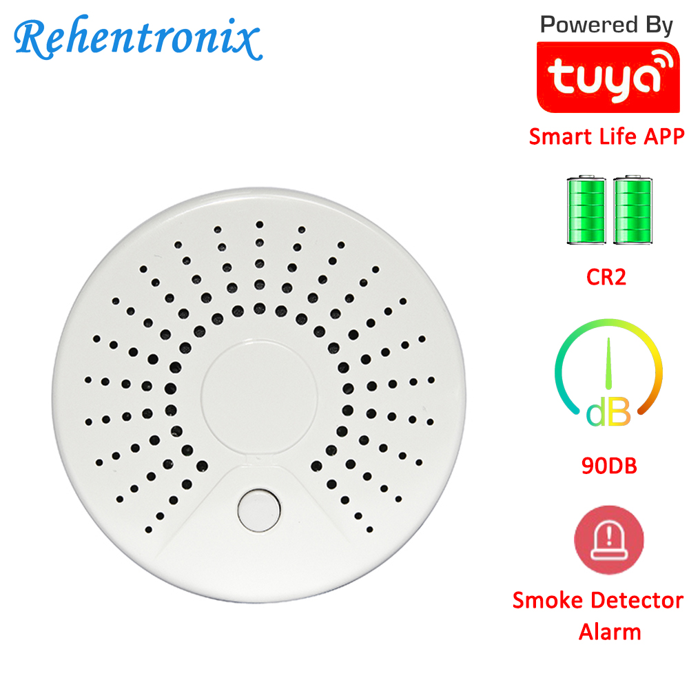Temperature Alarm Smart Wireless WiFi Tuya Smoke Sensor Detector With 90DB Sound Alarm APP Notifications