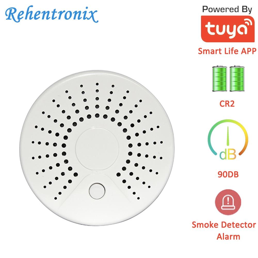 Temperature Alarm Smart Wireless WiFi Tuya Smoke Sensor Detector With 90DB Sound Alarm APP Notifications