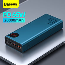 Baseus 65W Power Bank 20000mAh Portable Charging Powerbank Mobile Phone External Battery PD QC 3.0 Charger 22.5W Poverbank 20000