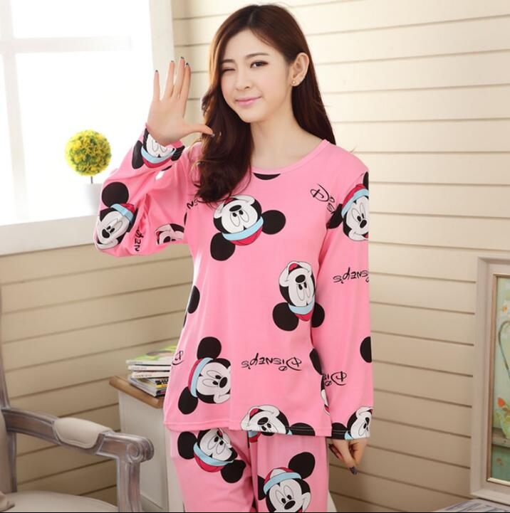 Wholesale Pajamas Sets Spring Autumn 22 Style Thin Carton Generation Women Long Sleepwear Suit Home Women Gift Female Sleepwear 28