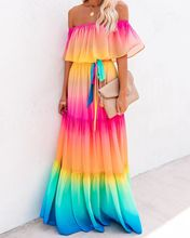 Off Shoulder Rainbow Color Dress Women Elegant Chiffon Summer Autumn Loose Maxi Dress Lace Up Pleated Party Dress Vestidos