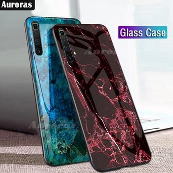 Перейти на Алиэкспресс и купить Auroras для Realme X3 чехол из закаленного стекла, мягкая силиконовая рамка, чехол с мраморным принтом для Realme X3 SuperZoom Cover Funda