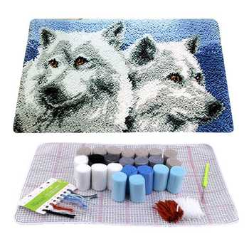 Wolf Brothers Latch Hook Rug Carpet Kit DIY Cross Stitch Thread Mat Needlework Yarn Cushion Embroidery Home Decor 50*30cm