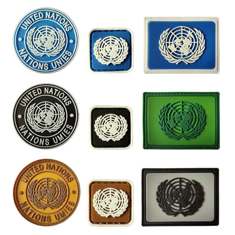 U.N. Patchs de broderie Velcro en Pvc, Badge tactique de larmée Airsoft, crochet, Brassard militaire, emblème de larmée de Combat
