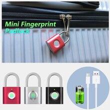 Mini keyless Fingerprint Unlock Anti Theft USB Padlock Door Lock for Door Footprint padlock Locker Box Cabinet Drawer lock