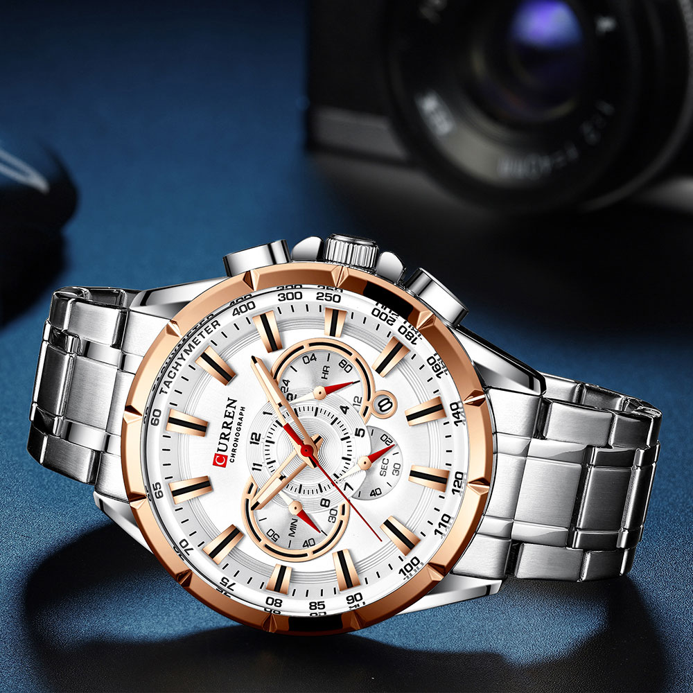 H43c030be588d4f94a5bc9cdba7647fcfr CURREN Wrist Watch Men Waterproof Chronograph Military Army Stainless Steel Male Clock Top Brand Luxury Man Sport Watches 8363