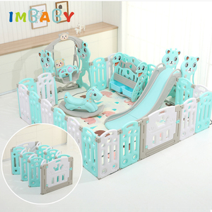 IMBABY Babys Playpen With Trojan Slide Swings Free Mats Baby Safety Barrier Dry Ball Pool Children Kids Fence Indoor Game Center