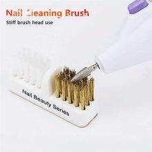 Limpeza escova de unhas profissional brocas cabeça moagem portátil mais limpo dupla escova diy manicure ferramentas beleza do prego salão arte