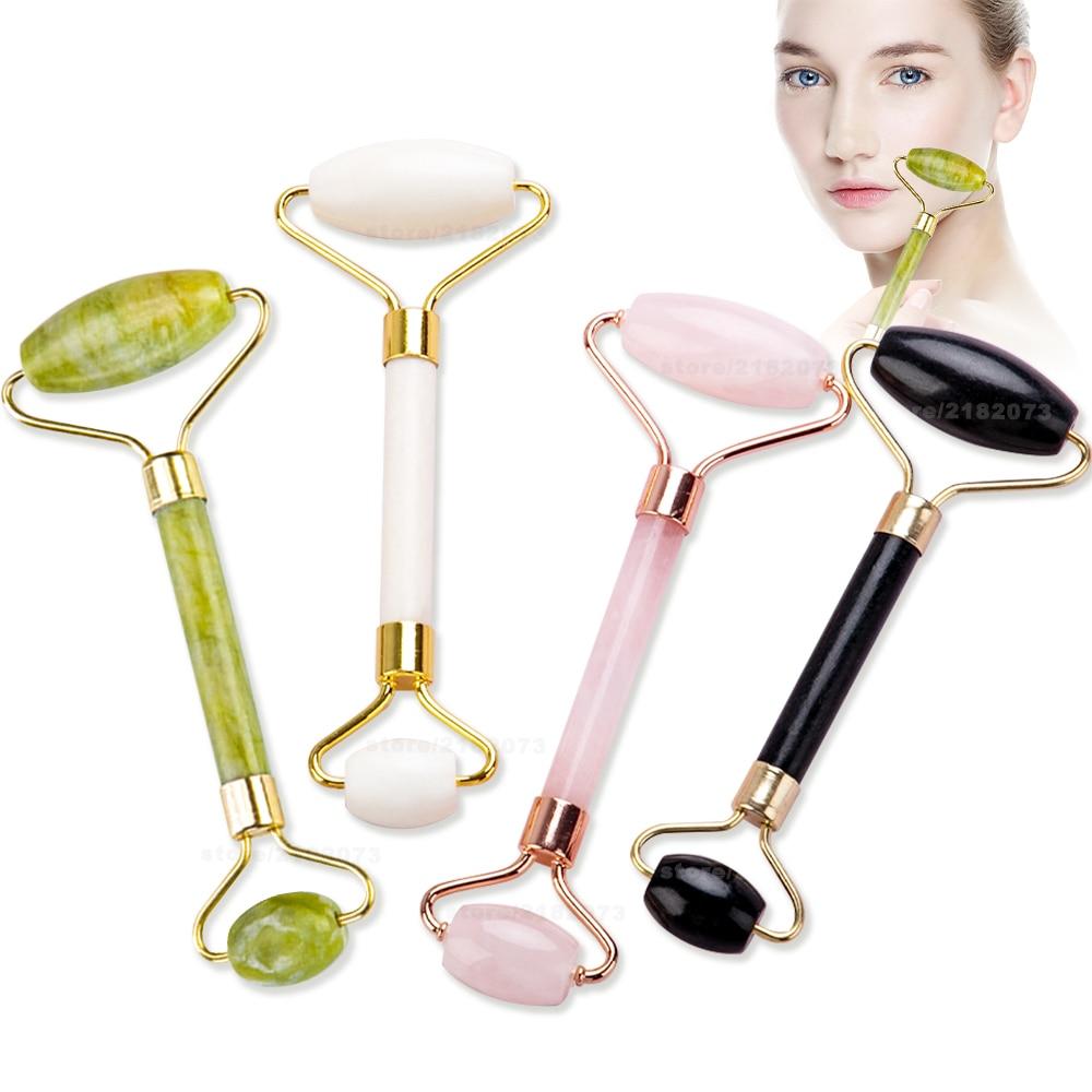 Jade branco rolo massageador para pedra facenatural emagrecimento elevador ferramentas de massagem facial para queixo pescoço cuidados com a pele ferramentas