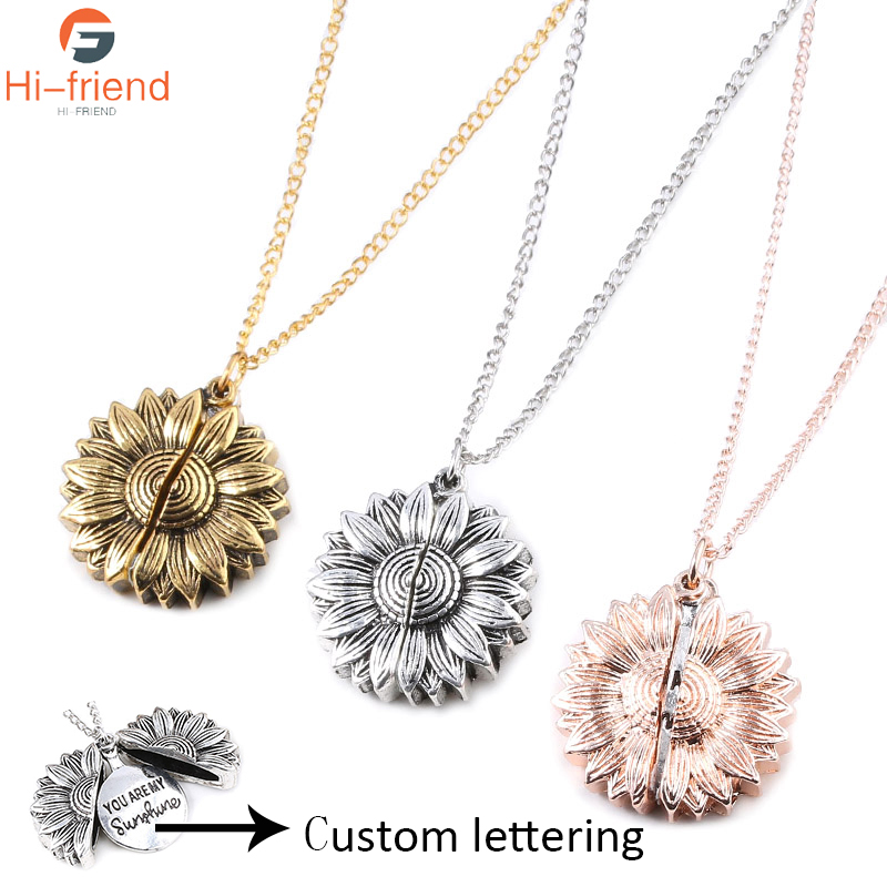 Chain Fashion Women Pendant Necklace Open Locket You Are My Sunshine Sunflower