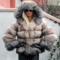 FURSARCAR Frauen 2019 Mode Echt Blau Silber Fuchs Pelz Mäntel Mit Kapuze Patchwork Weibliche Winter Jacke Für Dame Echten Pelz tuch