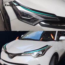 Carbon Fiber Headlight Eyebrows Eyelid Trim Eye Lid Cover Decoration For Toyota CHR C-HR Accessories 2019 2018 Car styling