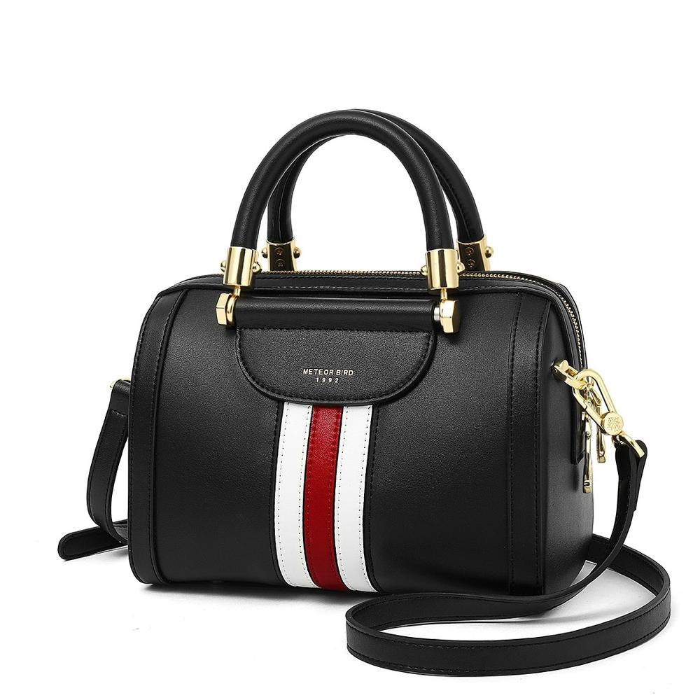 Grand sac à main femme en cuir bandoulière sacs classique mode Messenger sacs à bandoulière sac a main rayé Boston Design sac