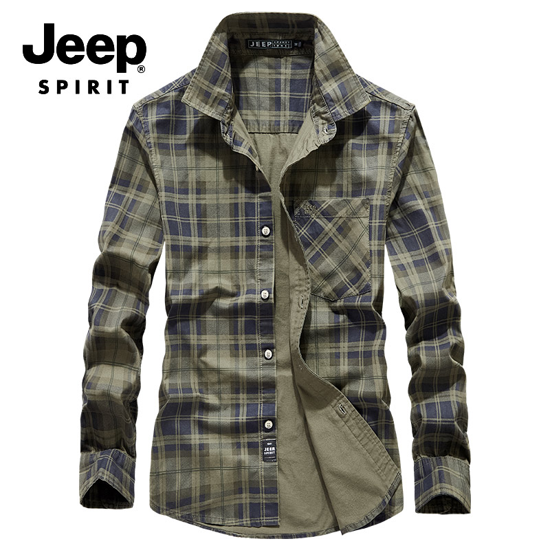 JEEP SPIRIT Brand Autumn Plaid Shirt Men Military Mens Shirts Long Sleeve Turn Down Collar Shirt Male Camisa Hombre