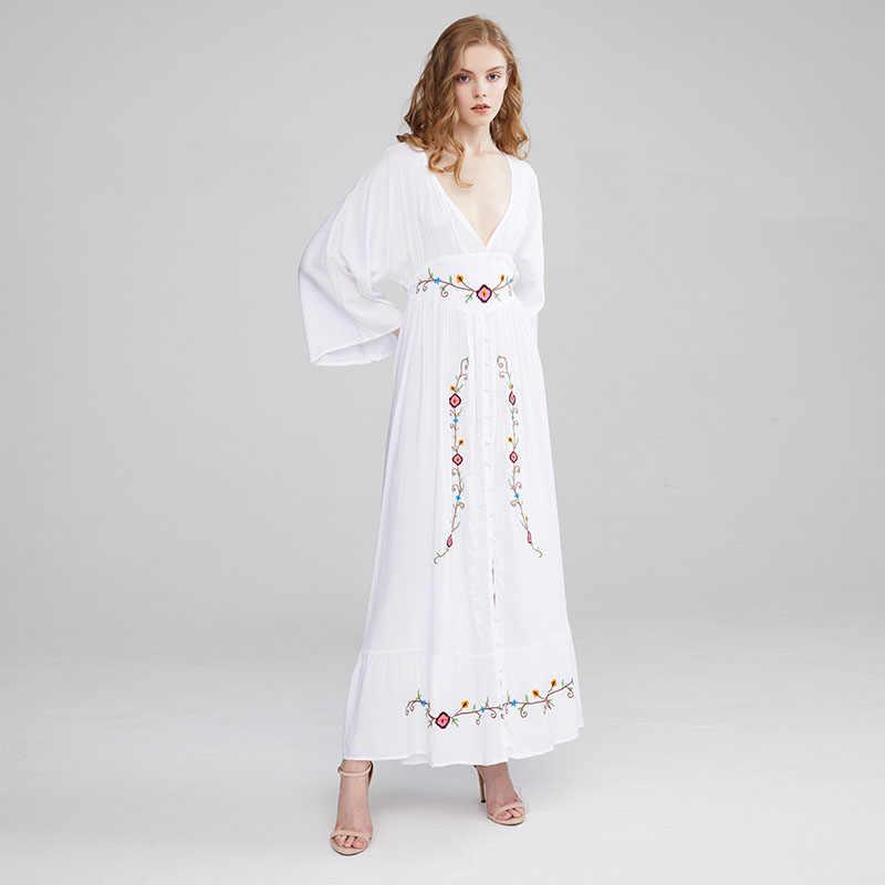 HAMALIEL женское сексуальное платье с глубоким v-образным вырезом Boho Макси праздничное платье 2019 Летнее белое хлопковое платье с цветочной вышивкой тонкое пляжное длинное платье