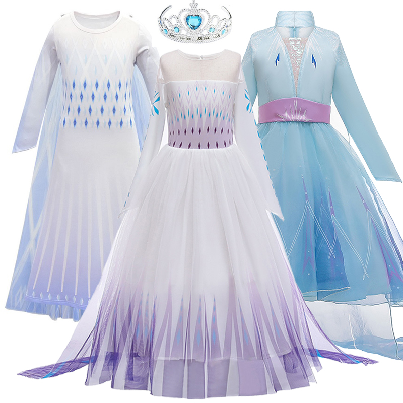 Flower Girl Wedding Party Bridesmaid Hanging Dresses Ice Queen Princess Anna Aisha's Ceremonial Party Role Play Dress Vestidos