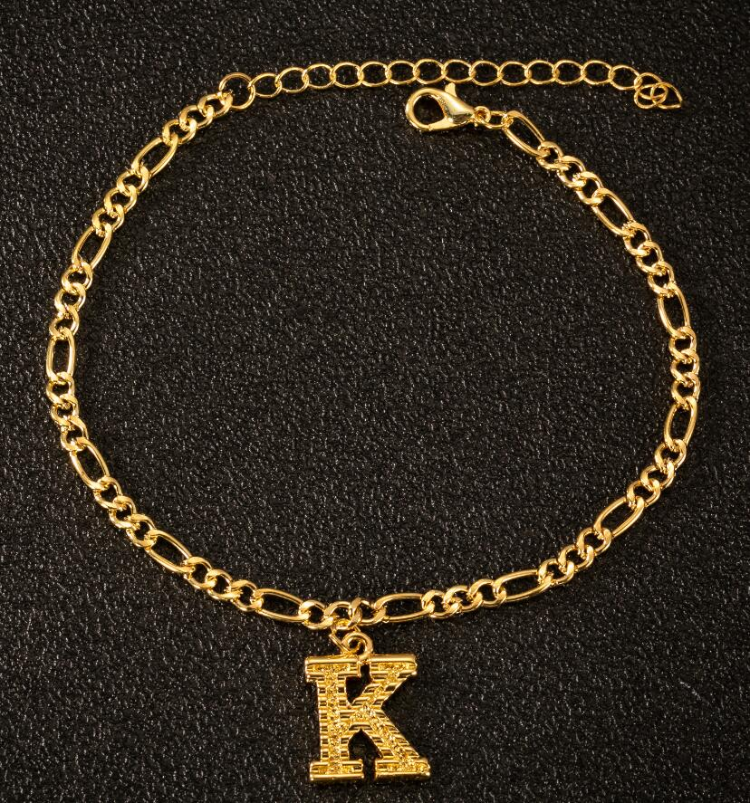 2020 New Fashion A-Z Letters Anklet for Women Initial 26 Alphabet Charm Bracelet Leg Chain Gold Ankle Bracelet Name Jewelry