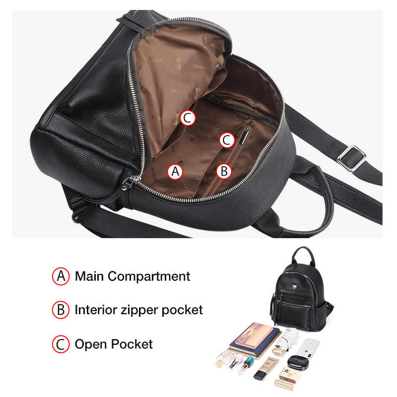 FOXER 패션 Businesswomen 통근자 스타일 배낭 여성 대용량 배낭 노트북 청소년 가죽 레이디 여행 가방