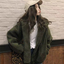 Lamb Jacket Womens Faux Fur Coat Loose Long Sleeve Zipper Hooded Casual Winter Autumn Warm Pockets Outerwear(China)
