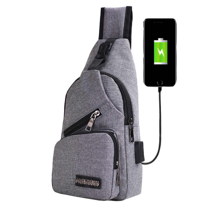 New Style Men's Canvas USB Charging Chest Pack Backpack MEN'S Bag Korean-style Men's And Women's Chest Shoulder Bag