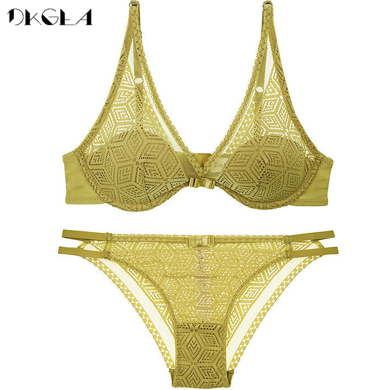2020 Thin Cotton Bra Panties Sets White Women Lingerie Set Embroidery Hollow Brassiere A B C Cup Sexy Bras Lace Underwear Set 8