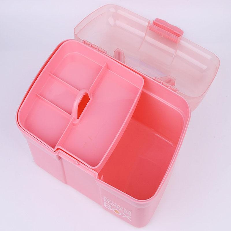Nail Art Craft 2 Layer Storage Case Box Makeup Plastic Portable Collecti GIJ