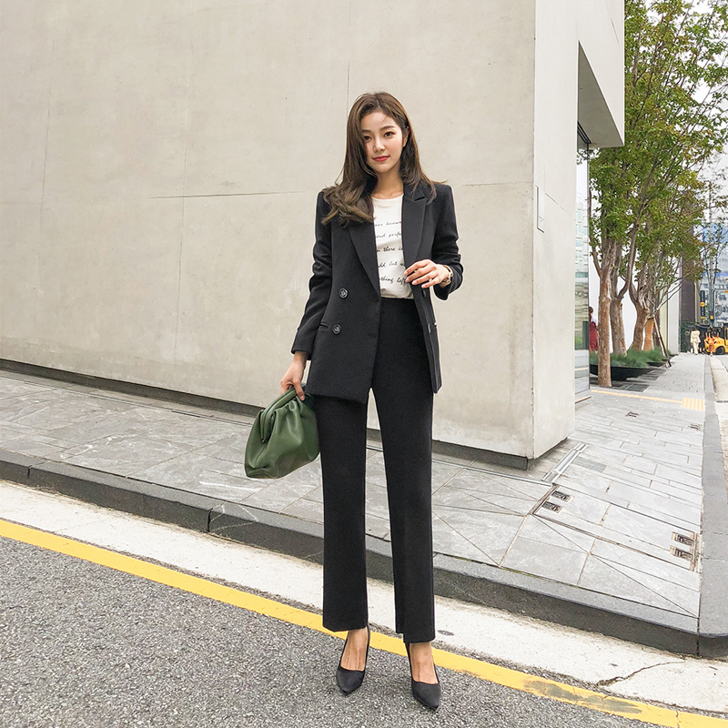 Korean womens suits set 2 pieces slim suit women suits pants suits elegant woman pantsuit women office suit pant suits for women