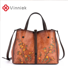 Genuine Leather Women Handbags Vintage Embossed Female Shoulder Bag Large Capacity Women Bags Casual Cross Body Bag For Ladies