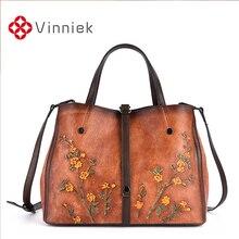 جلد طبيعي النساء حقائب Vintage تنقش الإناث حقيبة كتف سعة كبيرة النساء حقائب عادية عبر الجسم حقيبة للسيدات