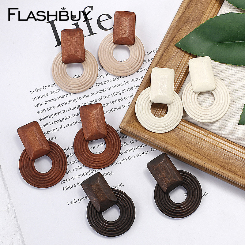 Flashbuy Wooden Splice Round Dangle Earrings For Women Square Geometric Statement Earring Wedding Jewelry Trendy Accessories