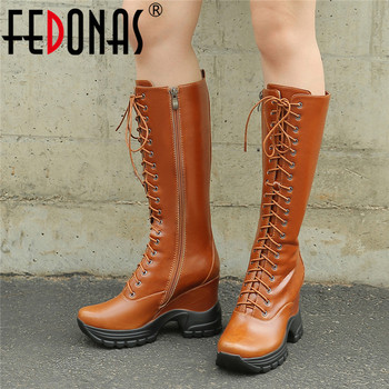 FEDONAS Vintage Wedges Female Long Riding Boots Winter Warm Women Knee High Boots Cross Tied Chunky Heels Party Shoes Woman