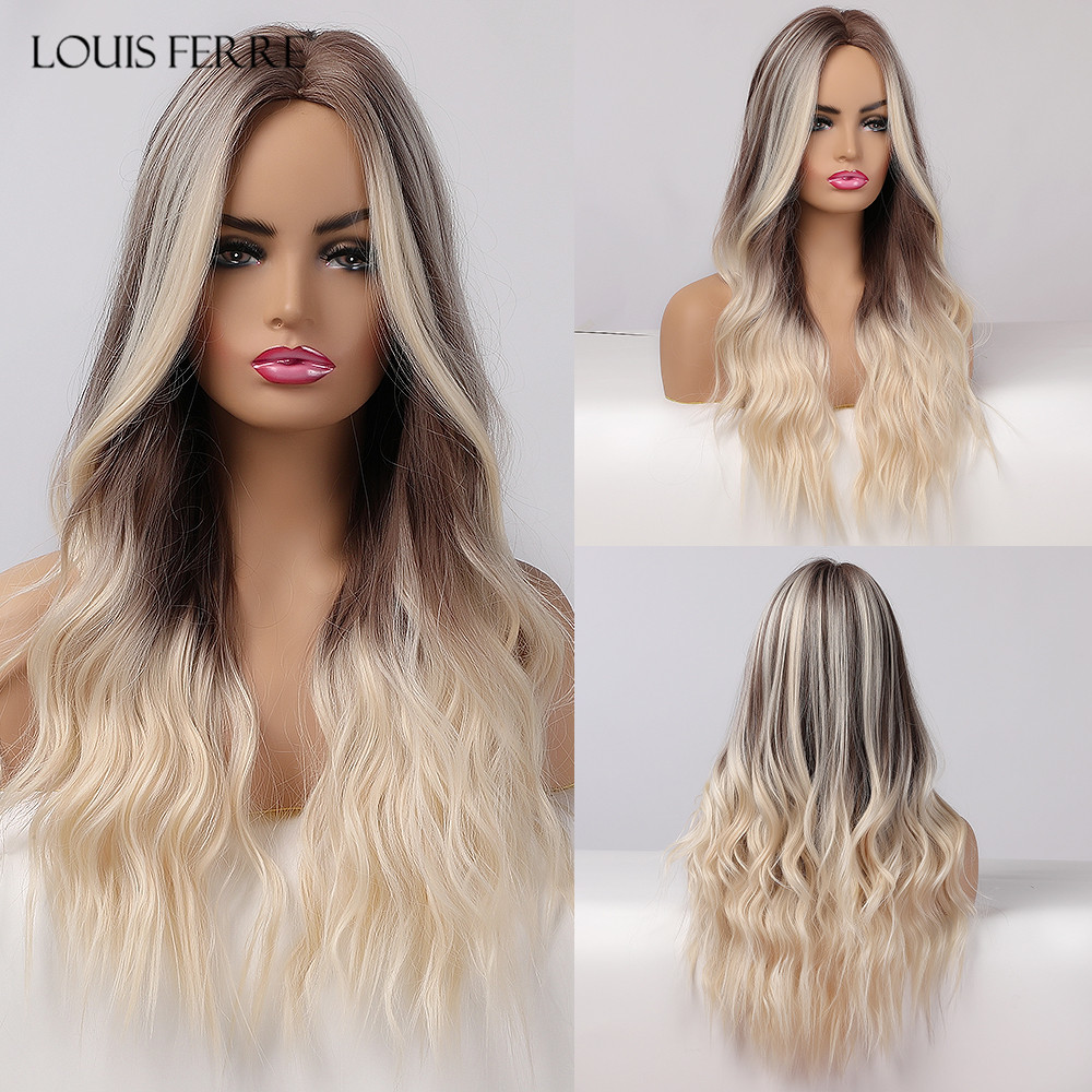 LOUIS FERRE Synthetic Ombre Wig for Women Brown Highlights on Blonde Hair Wig Long Wave Wig Natural Looking Heat Resistant Fibre