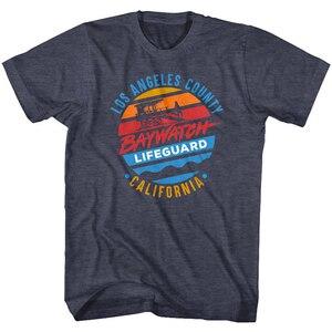 Baywatch Los Angeles ilçe cankurtaran erkek T gömlek California gün batımı kule üst gençlik orta yaş yaşlı Tee gömlek
