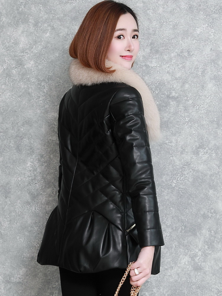 Jacket Leather Genuine Fox Fur Collar Korean Down Jackets Winter Jacket Women 100% Real Sheepskin Coat Chaqueta Mujer MY S