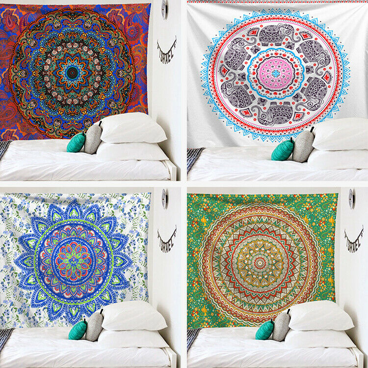 HOT Mandala Tapestry Wall Hanging Boho Decor Wall Cloth Tapestries Psychedelic Hippie Night Moon Tapestry Mandala Wall Carpet