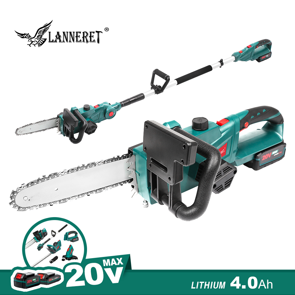 LANNERET 20V Cordless Chainsaw With 4.0Ah Battery Chain Saw And Charger Household Wood Cutter