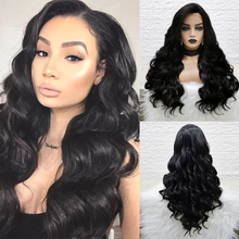 Pinkshow Black Lace Wig Synthetic Lace Front Wig For Black Women Body Wave Natural Hair Wigs Glueless Heat Resistant Fiber