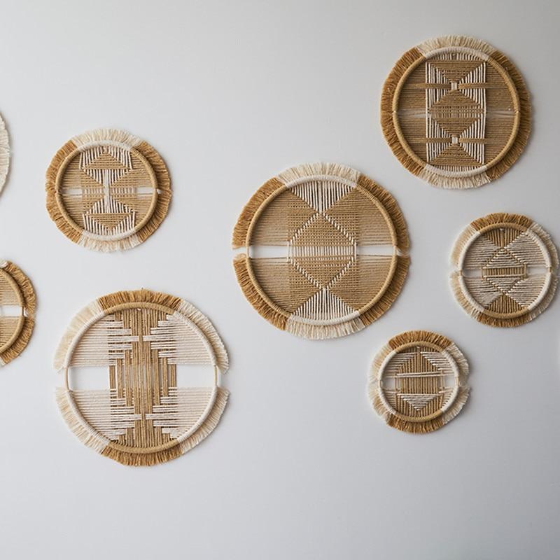 Декоративный макраме в стиле бохо, настенный хлопковый тканый креативный Круглый Гобелен с мандалой, ресторанное изголовье, комбинированн...