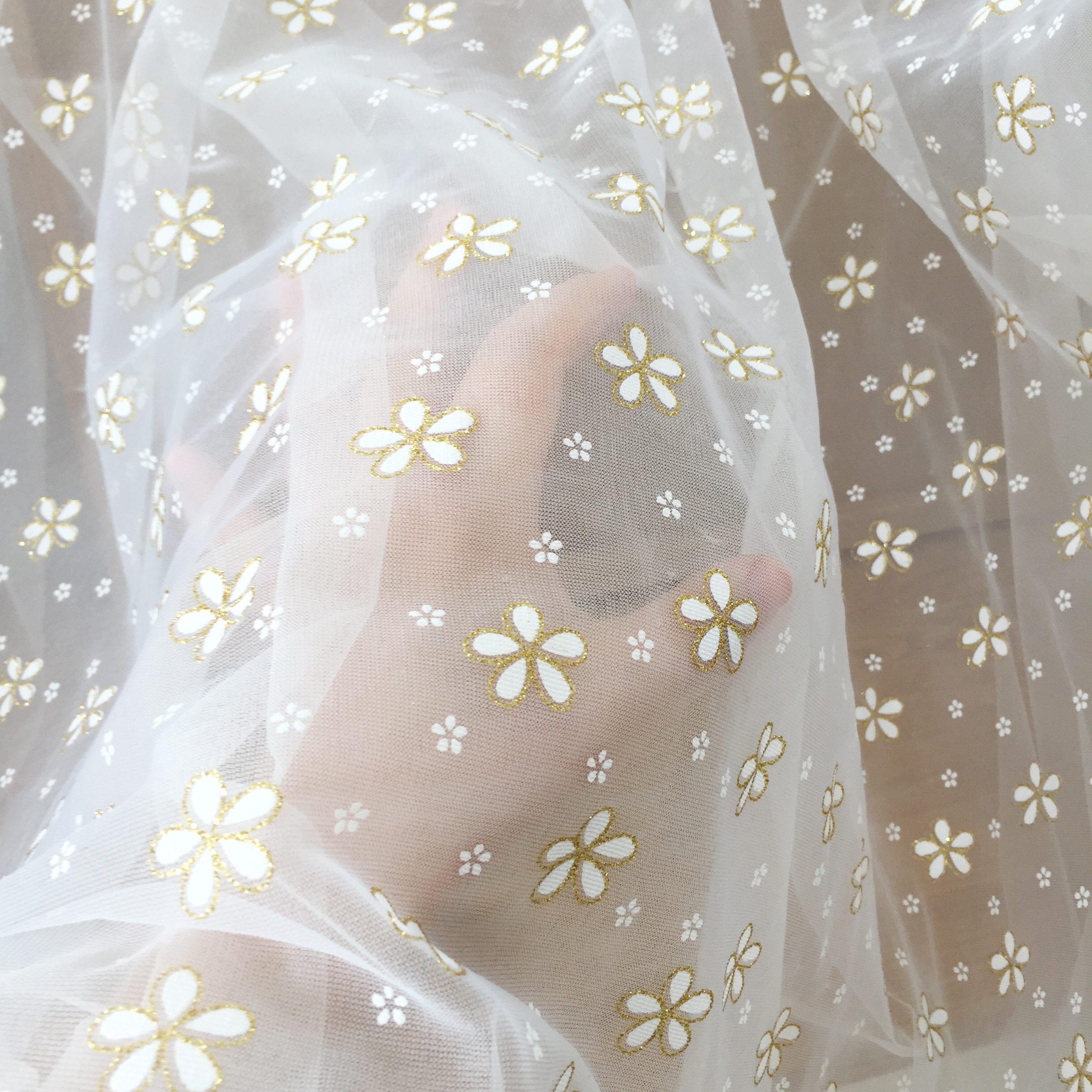 5 Yards Daisy Tulle Lace Fabric with Gold Glitter Embroidery for Bridal Gown Prom Dress DIY Craft 150cm Wide-3
