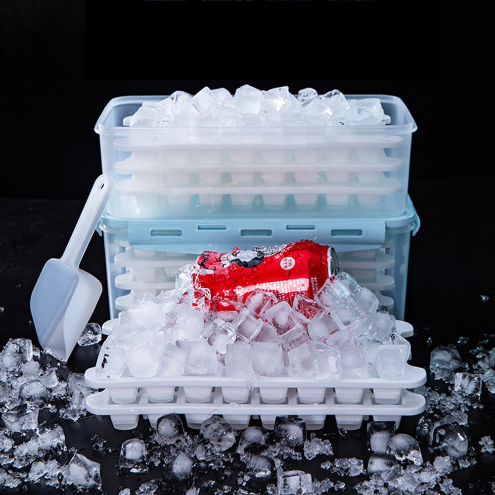 96 Soft Bottom Silicone Ice Tray Frozen Ice Cube Cold Drink Mold With Lid Home Refrigerator Freezer 2.8L Ice Box With 3 Layers image