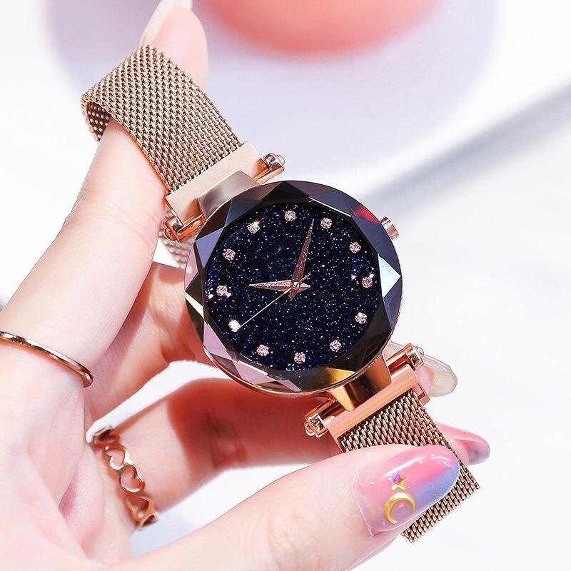 Luxury Women Watches Fashion Elegant Magnet Buckle Vibrato Purple Gold Ladies Wristwatch 2019 New Starry Sky  Relogio Feminino