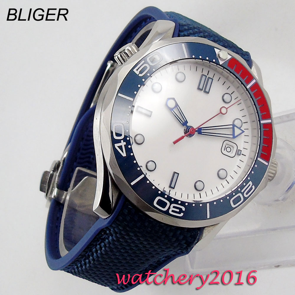 Men Watch 2019 BLIGER Men's Automatic Wristwatches Male Clock Top Brand Luxury Reloj White Sterile Dial Wrist Watches Calendar|Mechanical Watches| |  - title=
