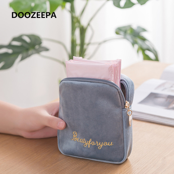 DOOZEEPA Women Velvet Makeup Bag Girls Lipstick Organizer Cosmetic Make up Package Pouch Sanitary Pads Toiletry Storage - discount item  25% OFF Special Purpose Bags