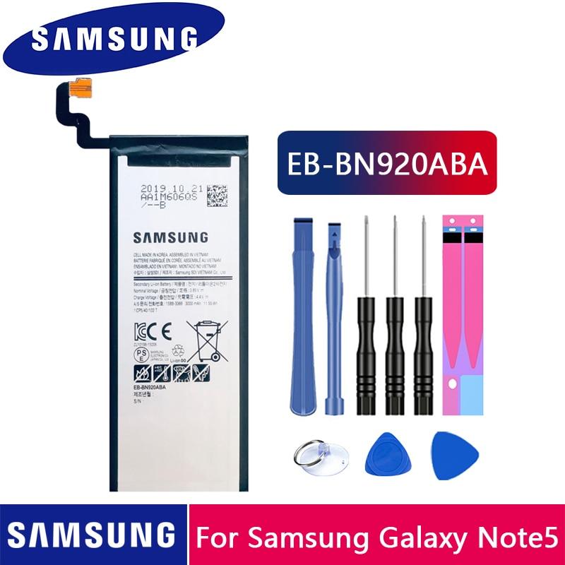 100% Original Samsung Battery EB-BN920ABE For Samsung Galaxy Note 5 N9200 N920T N920F Note5 SM-N920 N9208 3000mAh Phone Battery